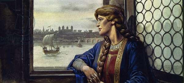 Eleanor felt abandoned by her husband when he became King of England (colour litho)