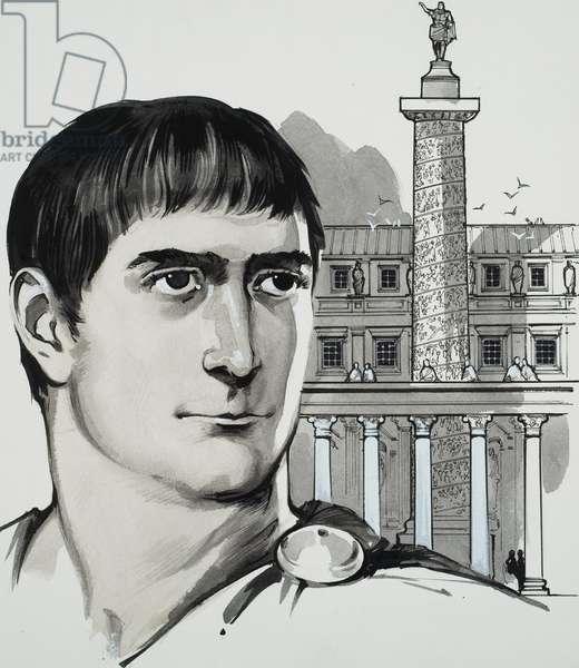 Emperor Trajan (gouache on paper)