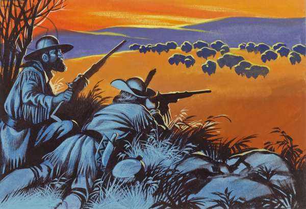Hunting buffalo in America (gouache on paper)