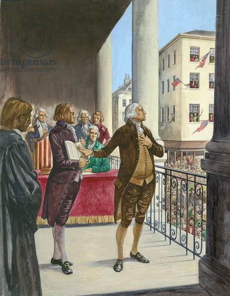 George Washington being sworn in as the first President of America in New York (gouache on paper)