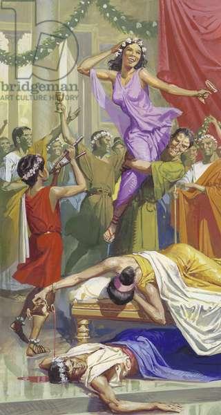 The Roman Festival of Saturnalia (gouache on paper)