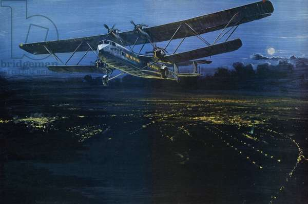 A Handley Page aircraft of the Hannibal class, taking off from Croydon aerodrome (colour litho)