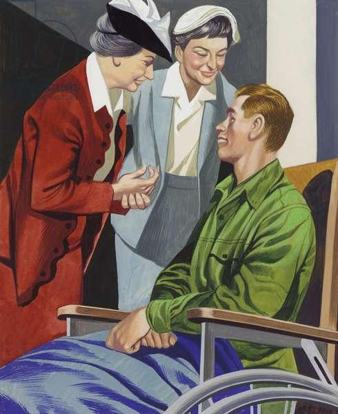 Helen Keller comforts a blinded serviceman (gouache on paper)