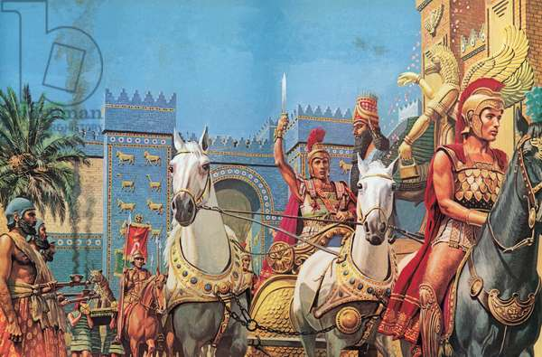 Alexander The Great, borne in his chariot, riding in triumph into Babylon (colour litho)