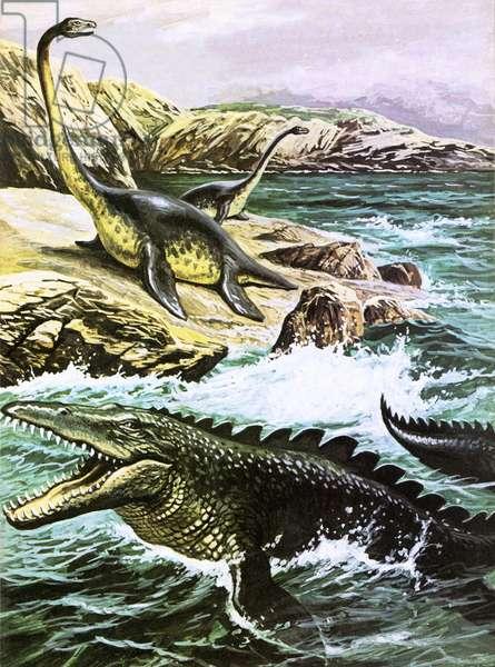 Plesiosaurus (top) and Tylosaurus (bottom)