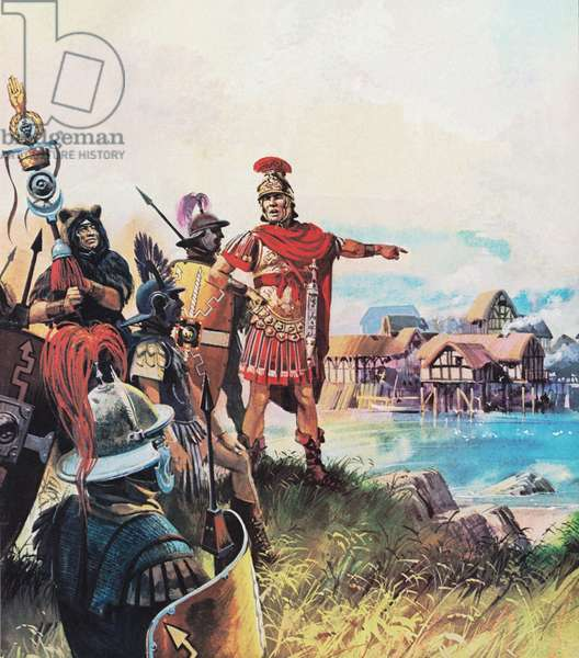 Julius Caesar establishing his camp at a small settlement, destined to become Paris (colour litho)