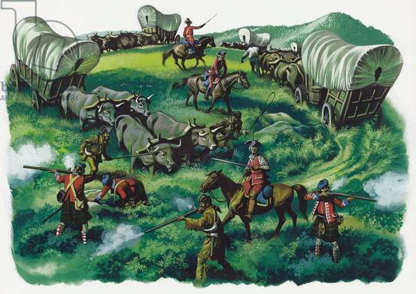 Under attack from native American indians (gouache on paper)