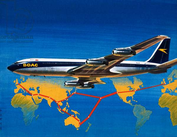 Into the Blue: Round the World with B.O.A.C. (gouache on paper)