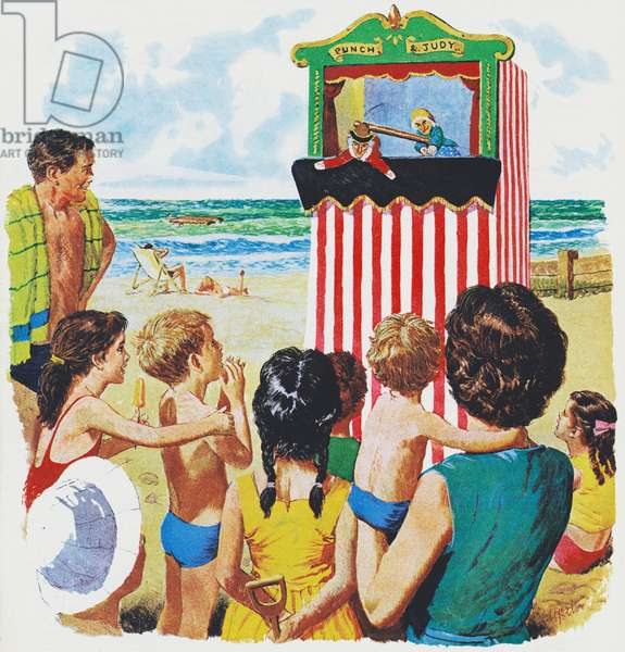 Watching Punch and Judy (colour litho)