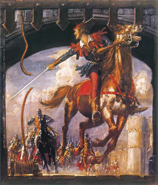 Robin Hood being chased by Norman soldiers