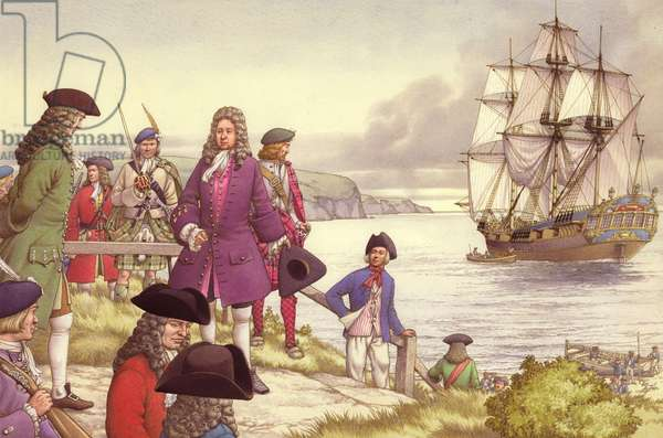 James Edward Stuart, the Old Pretender, departs for France from Scotland (gouache on paper)