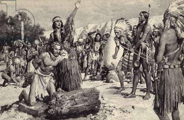 Pocahontas intervening to save the life of Captain Smith (litho)