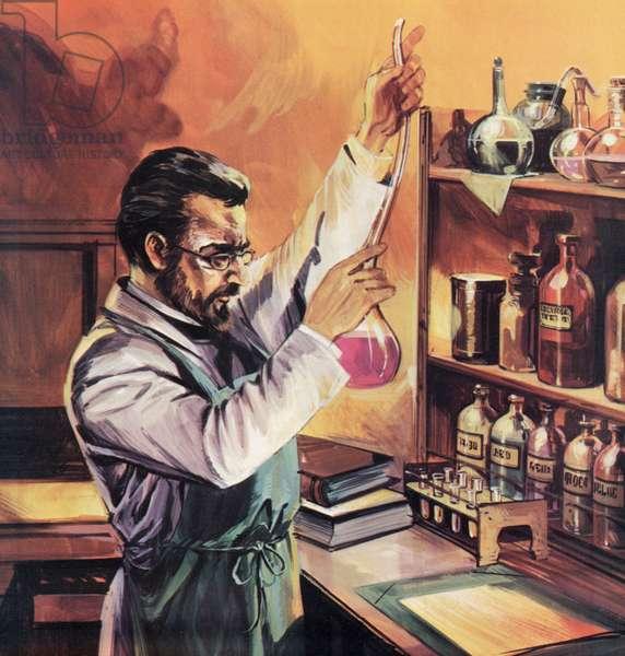 Louis Pasteur in his laboratory (colour litho)