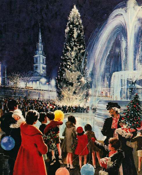 Christmas tree in Trafalgar Square, London, a gift from the people of Oslo (colour litho)