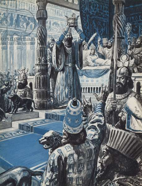 Sapor II, king of the Persian Empire, crowned before he was born (colour litho)