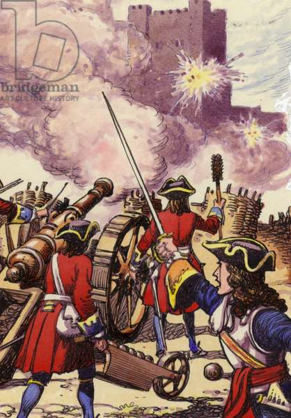 Carrickfergus Castle under siege (gouache on paper)