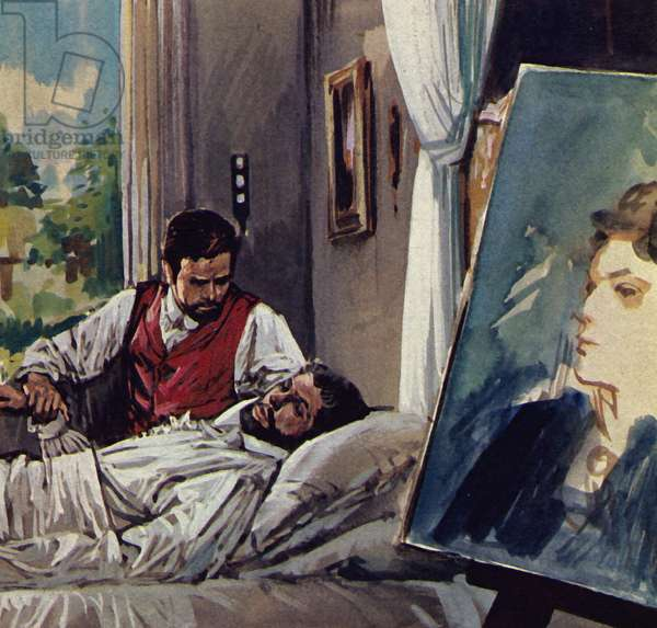 Manet died in the arms of his friend Chabrier (colour litho)