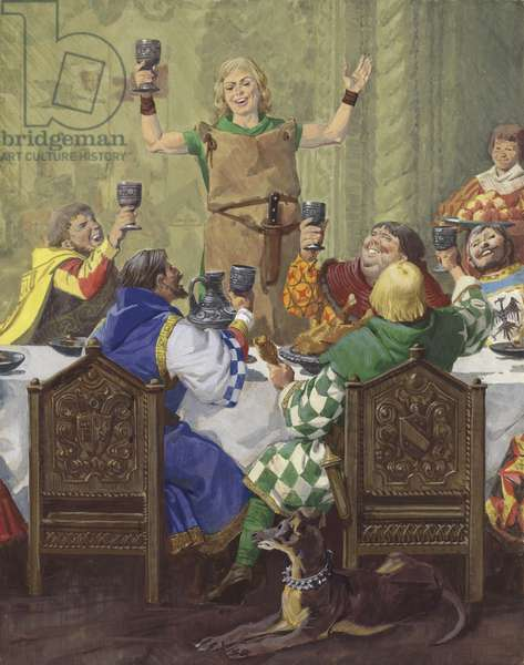 A Medieval Feast (gouache on paper)