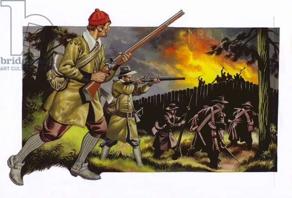 American settlers attacking the Indian stockade at Pocasset Neck, 1676 (gouache on paper)