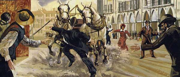 Pierre Curie slipped whilst crossing the road and fell under a horse and cart (colour litho)
