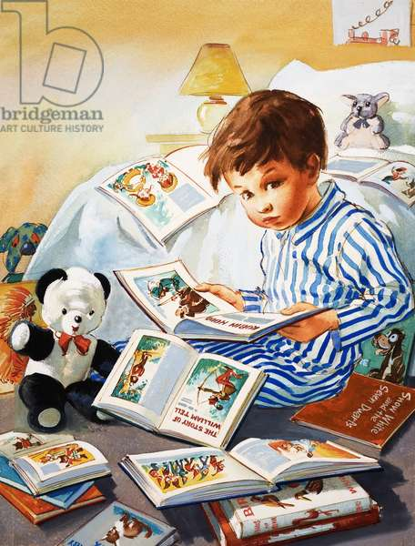 Young Boy reading story books