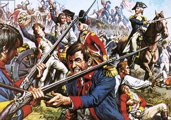 George Washington leading his troops during the American War of Independence