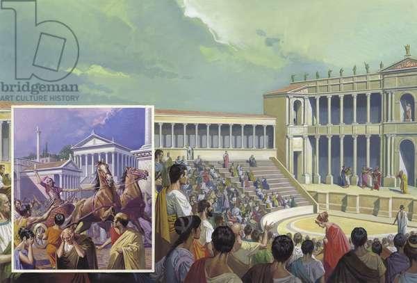 Ancient Roman Theatre (gouache on paper)