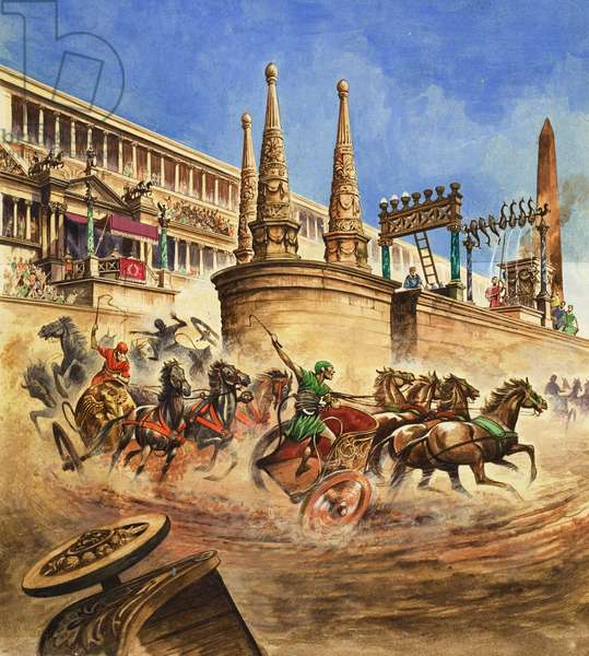 Chariot Race (gouache on paper)