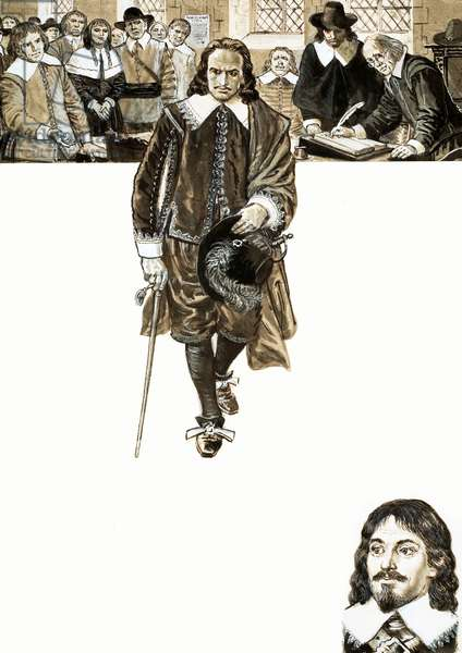 John Hampden refused to pay his tax (gouache on paper)