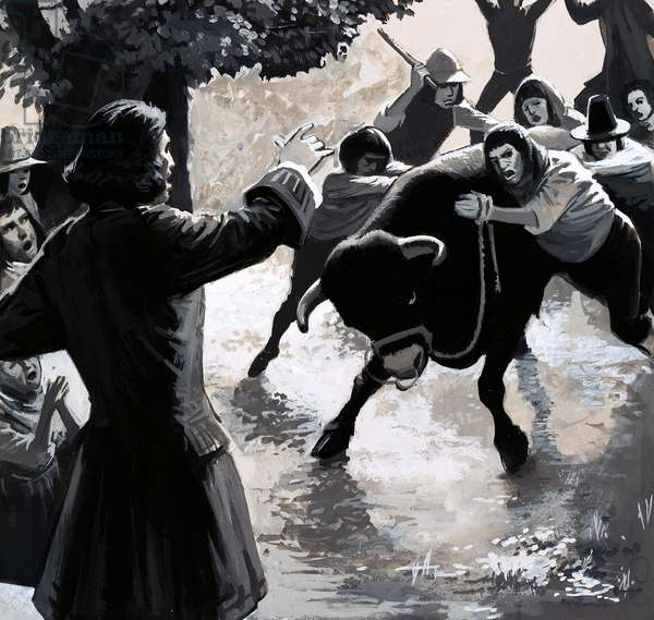 A group of disruptors tried to disrupt John Wesley's preaching by driving a bull into the crowd (gouache on paper)