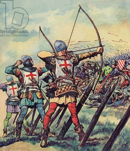 English bowmen at The Battle Of Crecy (colour litho)