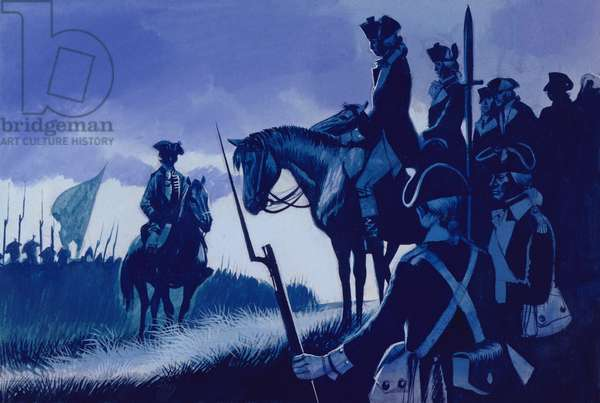 Cornwallis surrendered at York Town, ending the war (gouache on paper)