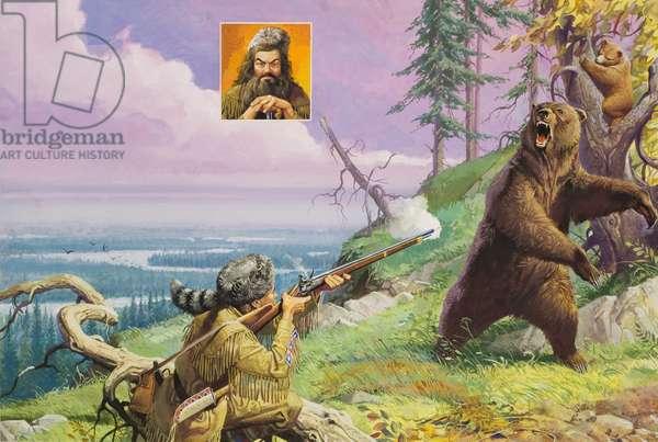 Daniel Boone (1734-1820) Blazes the Wilderness Trail (gouache on paper)