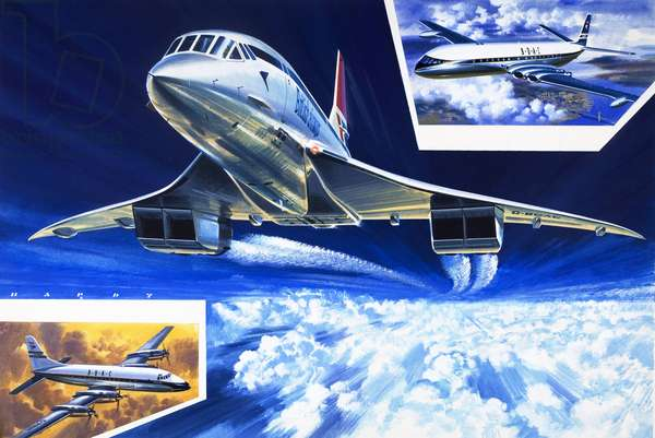 Wings Around the World, Concorde shows the way at twice the speed of a bullet (gouache on paper)