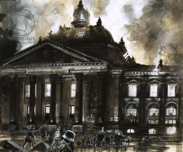The burning of the Reichstag, Germany's House of Parliament, in 1933