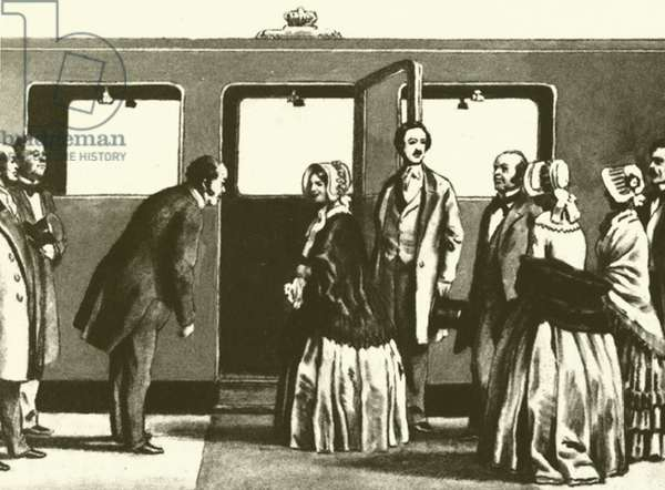 George Hudson, the Railway King, bowing to Queen Victoria and Prince Albert, as they are about … (litho)