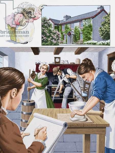 Beatrix Potter (gouache on paper)