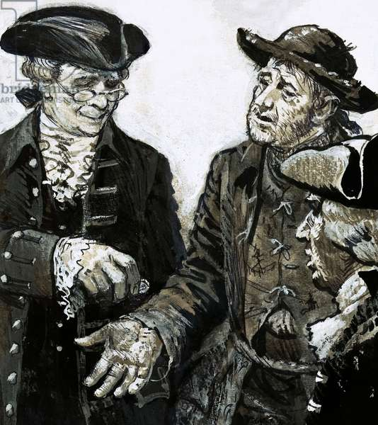 Daniel Dancer, a notorious scrooge, wore such tattered clothing that he was sometimes taken for a beggar (gouache on paper)