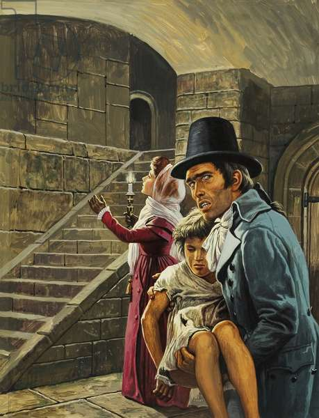 Unidentified Scene with Man Carrying Child
