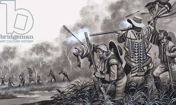 Under attack from the Chavante Indians, 1980 (gouache on paper)