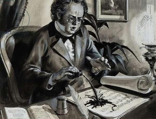 Portrait of Franz Schubert (gouache on paper)