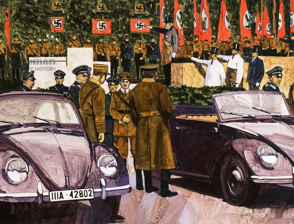 Adolf Hitler inspecting prototypes of the Volkswagon Beetle