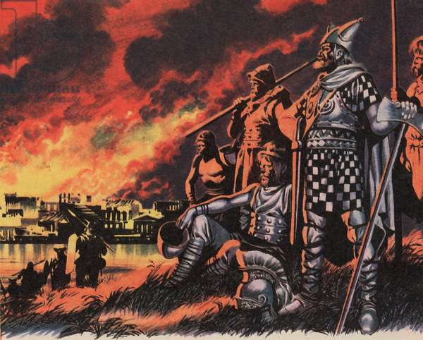 London destroyed by Boadicea's men in AD 61 (colour litho)