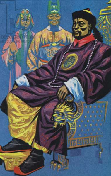 A Manchu Emperor sitting in state (colour litho)