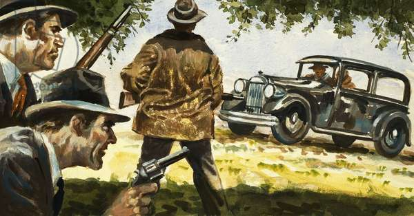 Texas Rangers ambush a car driven by Bonnie and Clyde