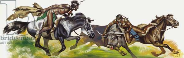 American Native Indians steeling cattle (gouache on paper)