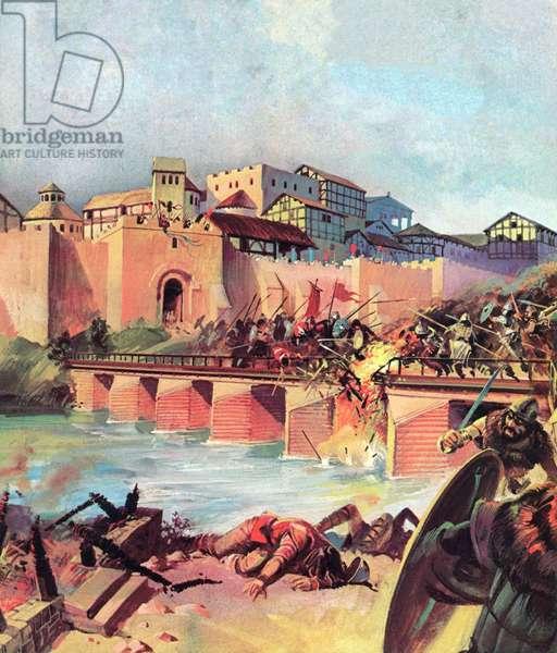 Barbarians sweeping down on Lutetia (Paris) (colour litho)
