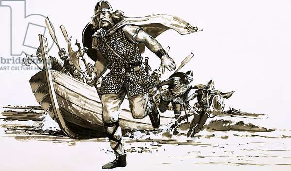 King Vortigern brought two barbarian chiefs - Hengest and Horsa - to Britain (gouache on paper)