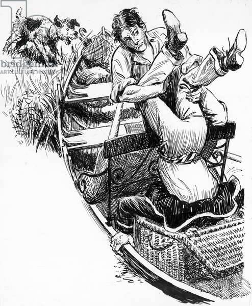 Illustration for Three Men In A Boat by Jerome K Jerome (pen and ink)