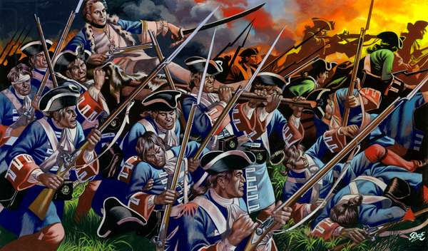 The Battle Of Poltava, with King Charles XII of Sweden leading his left column from his litter (gouache on paper)